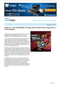 Diodes Inc. – New 100V MOSFET H-bridge reduces footprint with