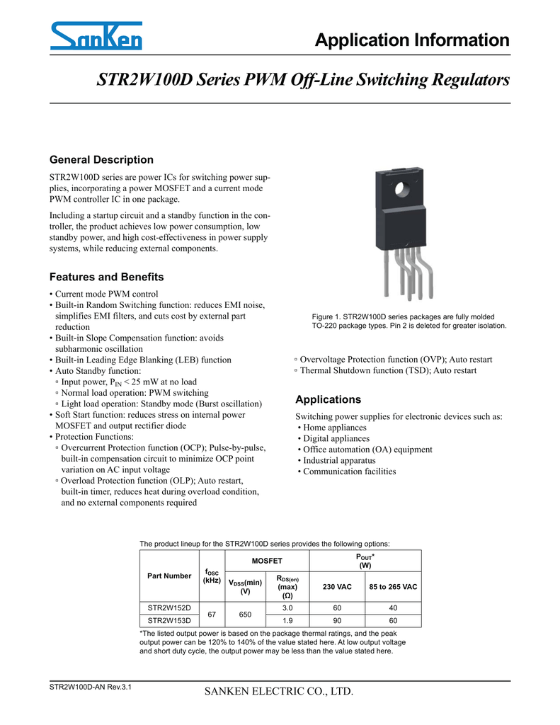 Str2w100d Series Pwm Off Line Switching Regulators Application General Schematic For Mosfet Voltage With