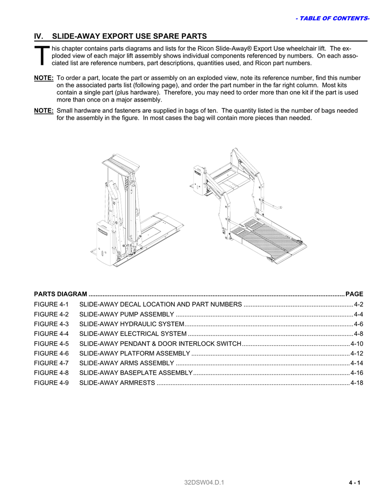 Ricon Wheelchair Lift Hydraulic Fluid Electrical Wiring Diagrams Prmobil C400 Spare Parts
