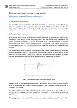 Pressure transducer`s response to step function