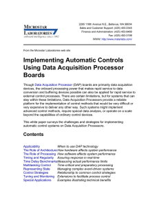 Implementing Automatic Controls Using Data Acquisition Processor