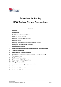 Guidelines for Issuing NSW Tertiary Student