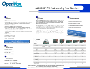 A400/800/1200 Series Analog Card Datasheet