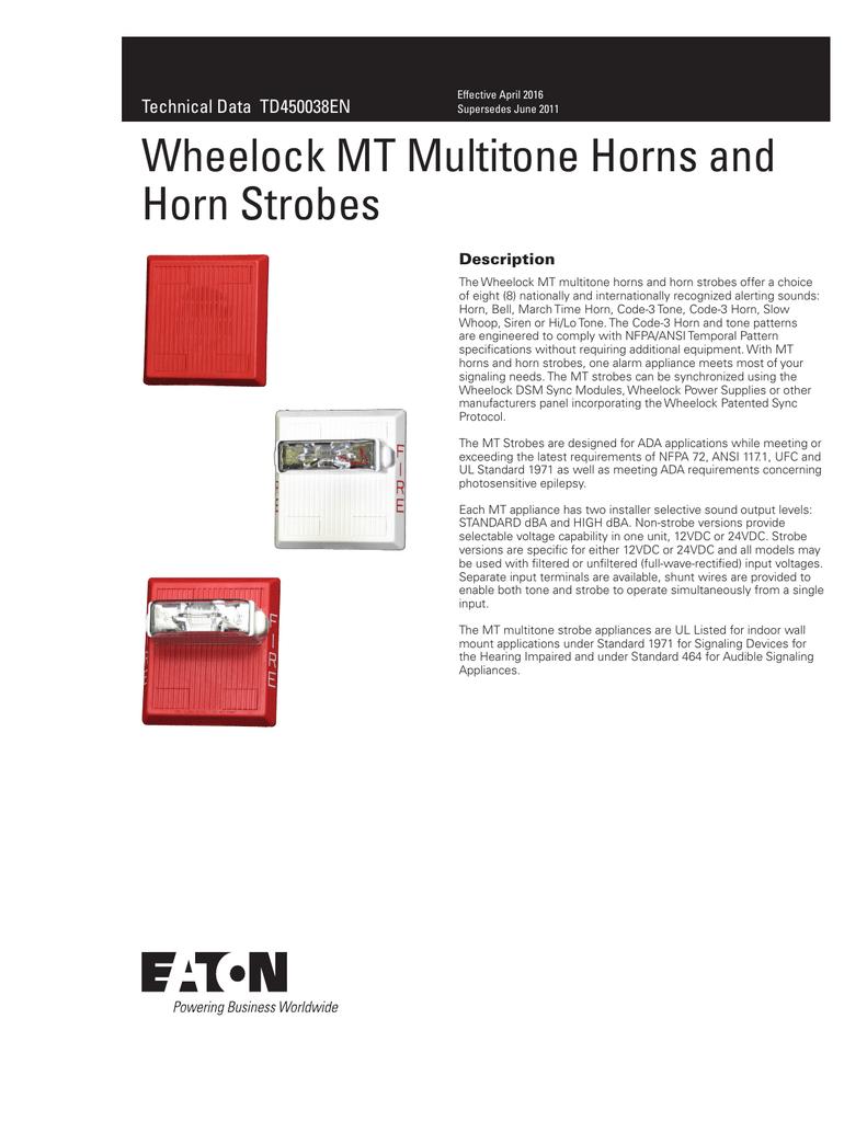 Wheelock Mt Multitone Horns And Horn Strobes Dual Tone Train Circuit
