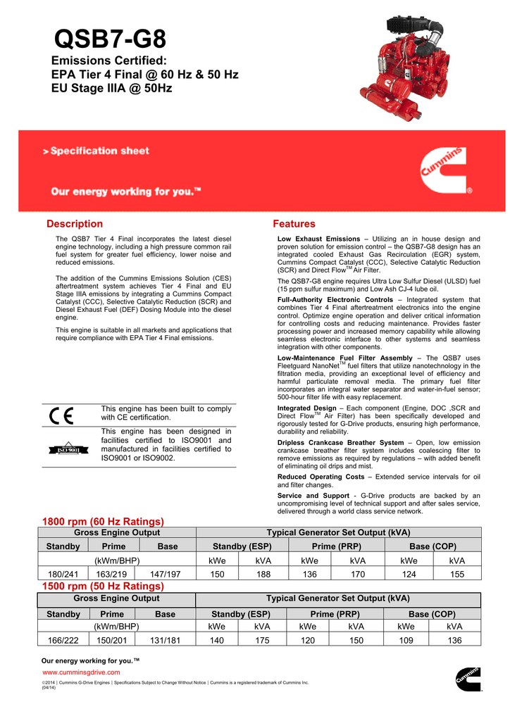 Generator Set Specification Sheet Format - Cummins G