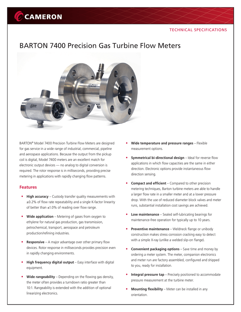 BARTON 7400 Precision Gas Turbine Flow Meters
