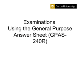 Examinations: Using the General Purpose Answer Sheet (GPAS