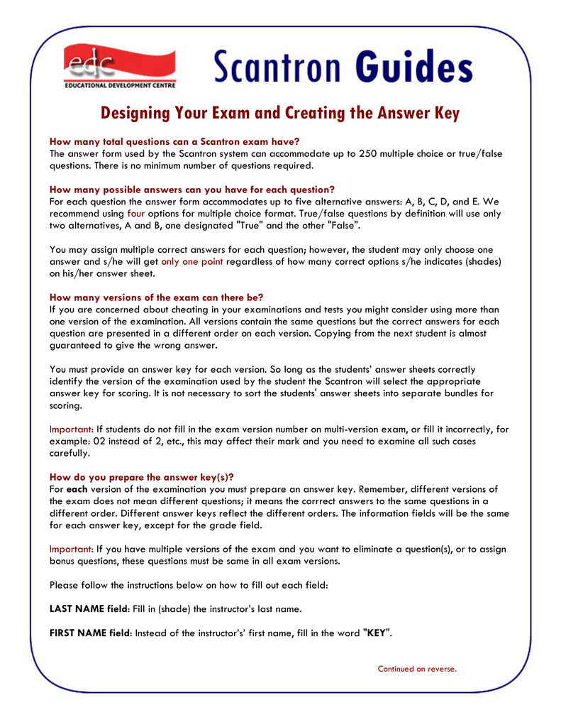 Designing Your Exam and Creating the Answer Key