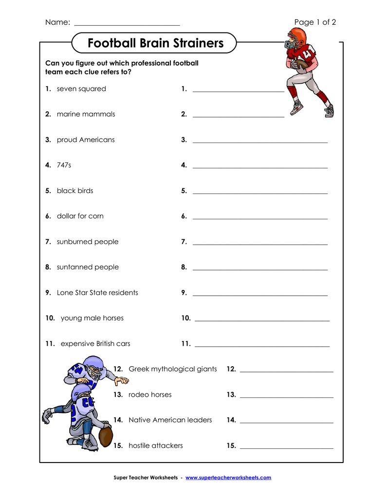 Football Brain Strainers - Super Teacher Worksheets