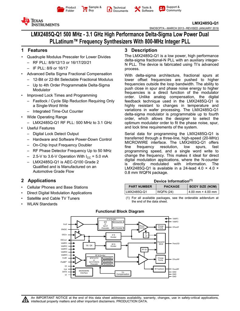 Lmx2485q Q1 500 Mhz 31 Ghz High Performance Delta 500mhz Pic Prescaler