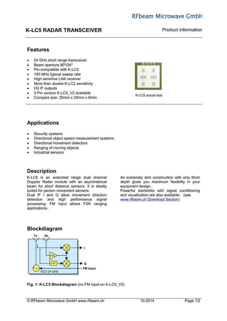 K-LC5 RADAR TRANSCEIVER Features Applications Description
