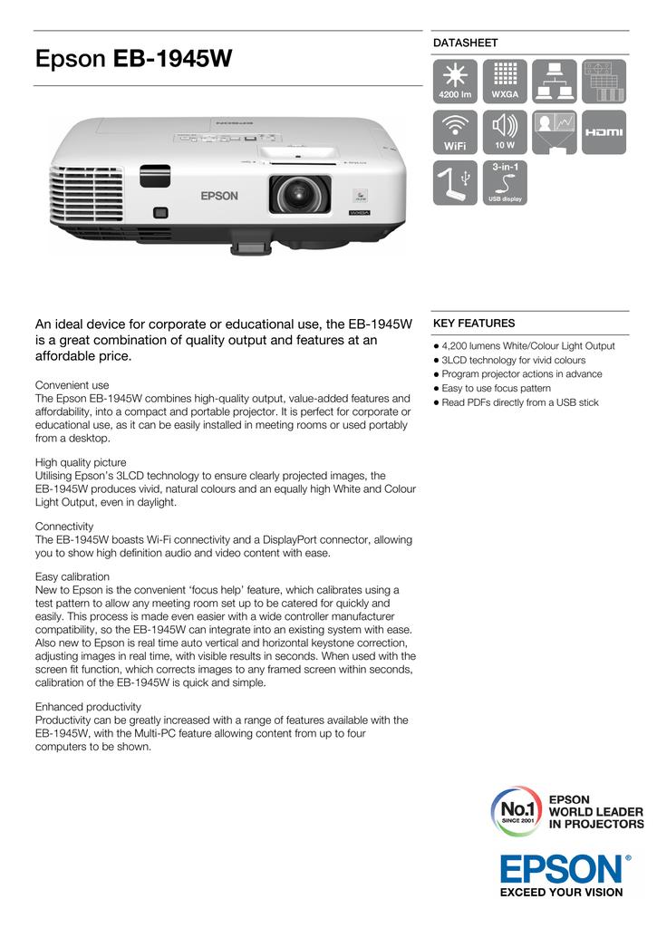 Epson EB-1945W Portable Projector