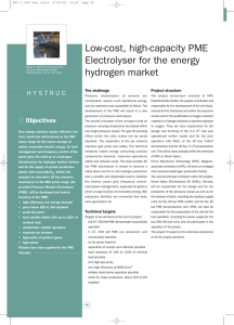 Low-cost, high-capacity PME Electrolyser for the energy hydrogen