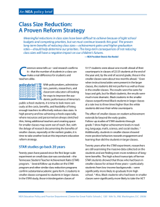 Class Size Reduction: A Proven Reform Strategy