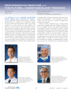 Perioperative Medicine and The Future of Anesthesiology Training