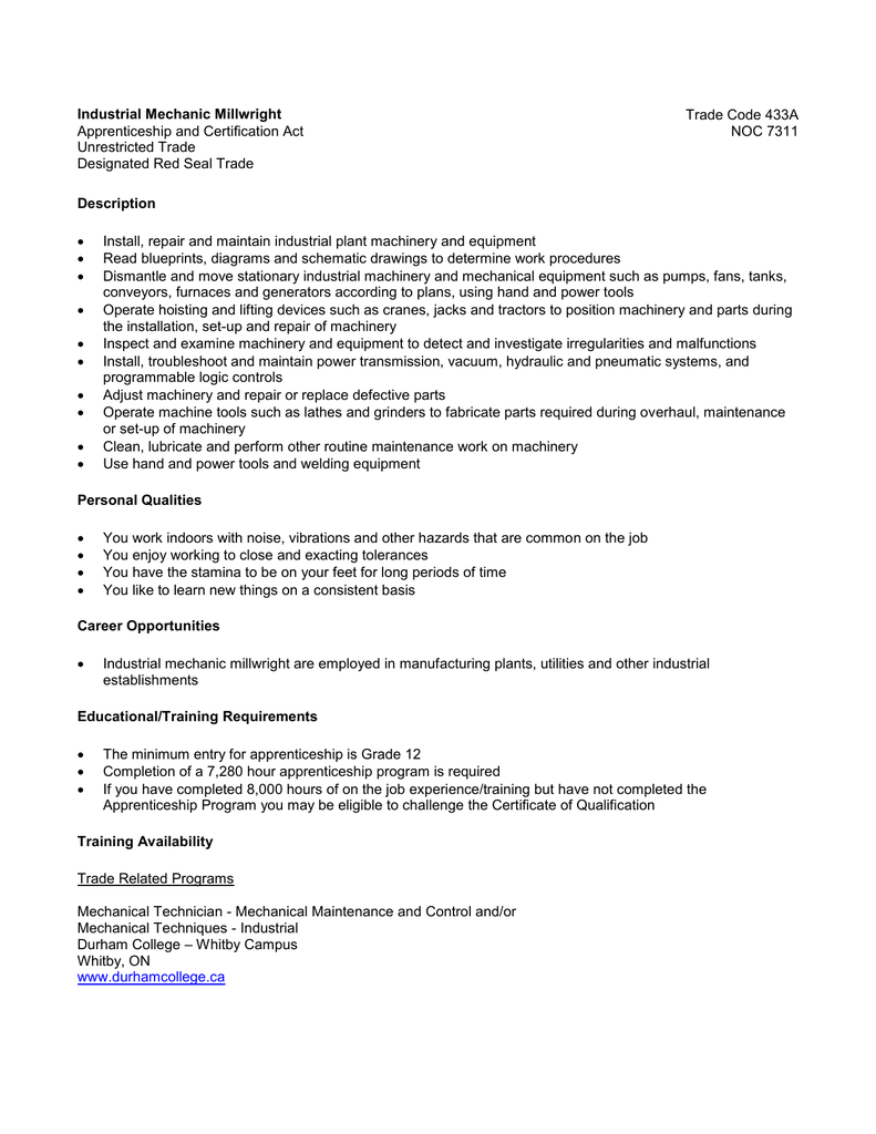 millwright apprenticeship retail clerk sle resume