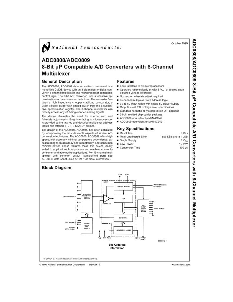 Adc0809 General Block Diagram Of Multiplexer