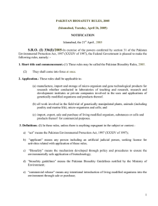 Pakistan Biosafety Rules 2005 - Food and Agriculture Organization
