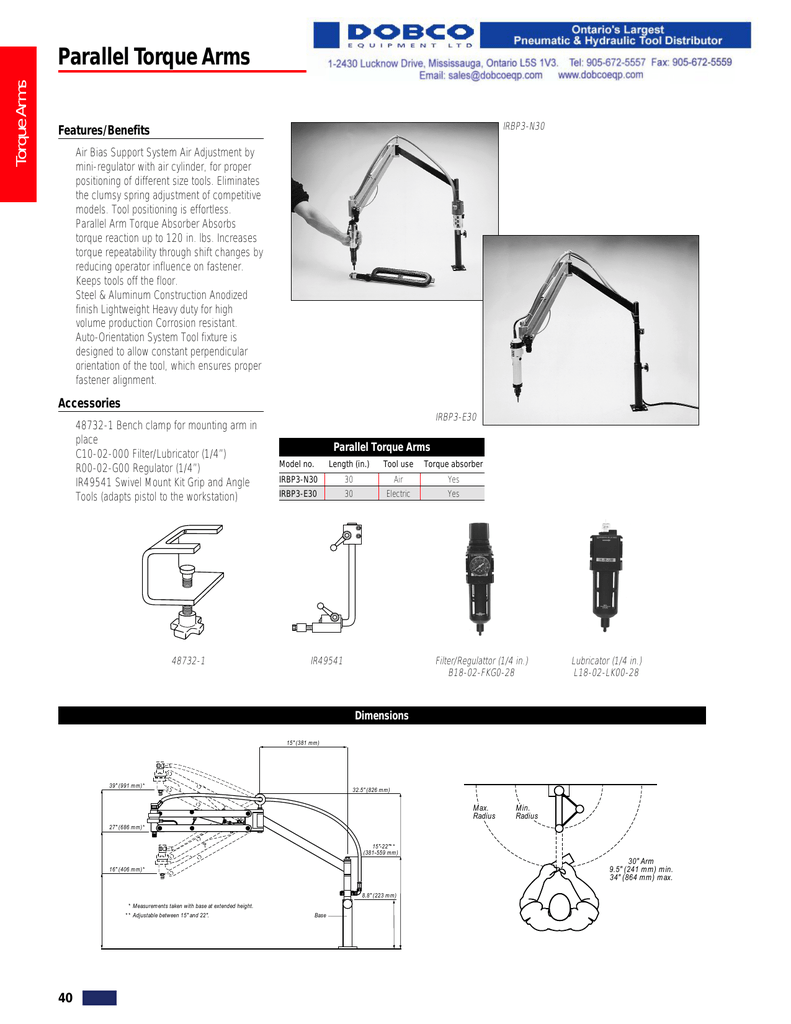Ingersoll-Rand Torque Reaction Arms