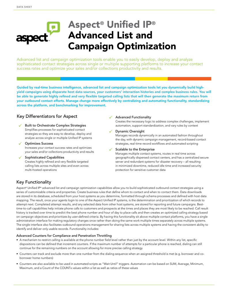 Aspect® Unified IP® Advanced List and Campaign Optimization