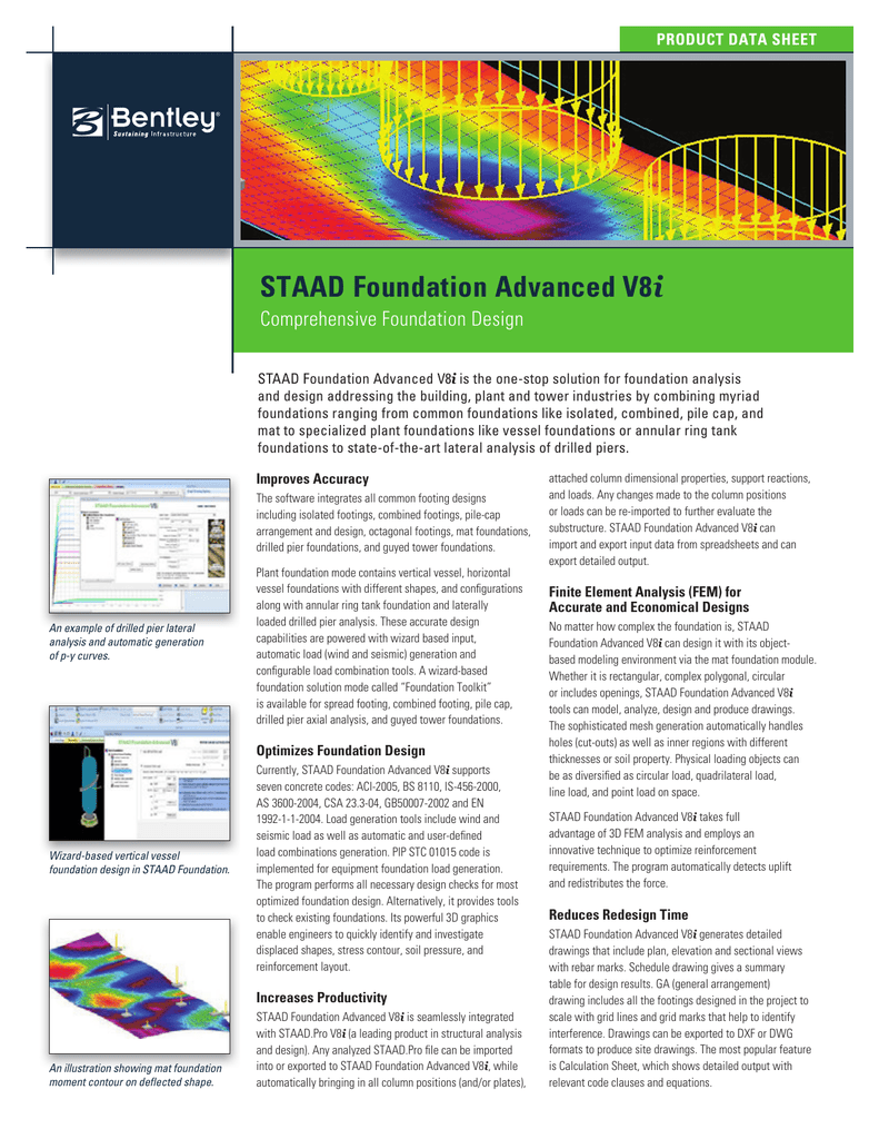STAAD Foundation Advanced V8i Product Data Sheet