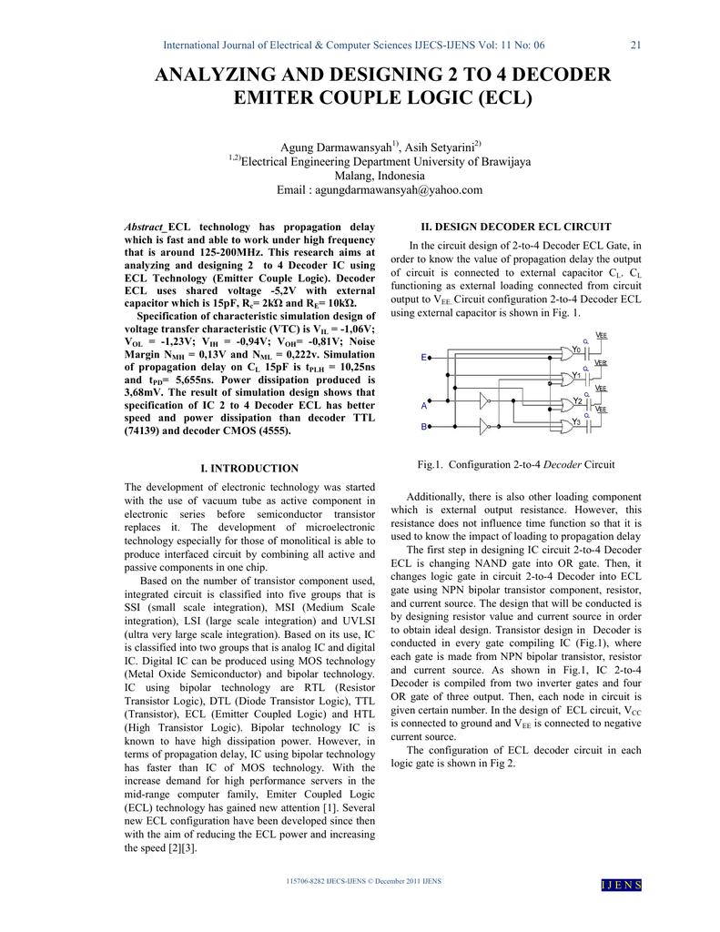 Analyzing And Designing 2 To 4 Decoder Emiter Couple Logic Ecl Diagram 2x4