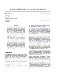 An Empirical Exploration of Recurrent Network Architectures