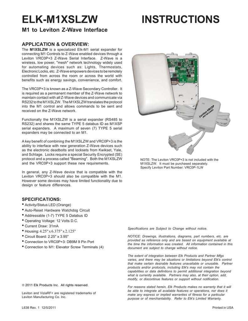 M1xslzw M1 Leviton Z Wave Instpmd O4 C10 Wire Diagram