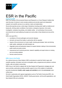 Recent and current activities for ESR in the Pacific