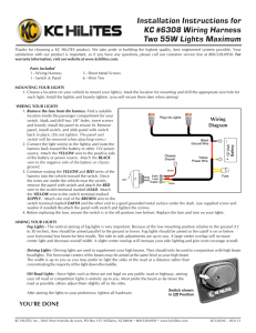 Installation Instructions for KC #6308 Wiring Harness