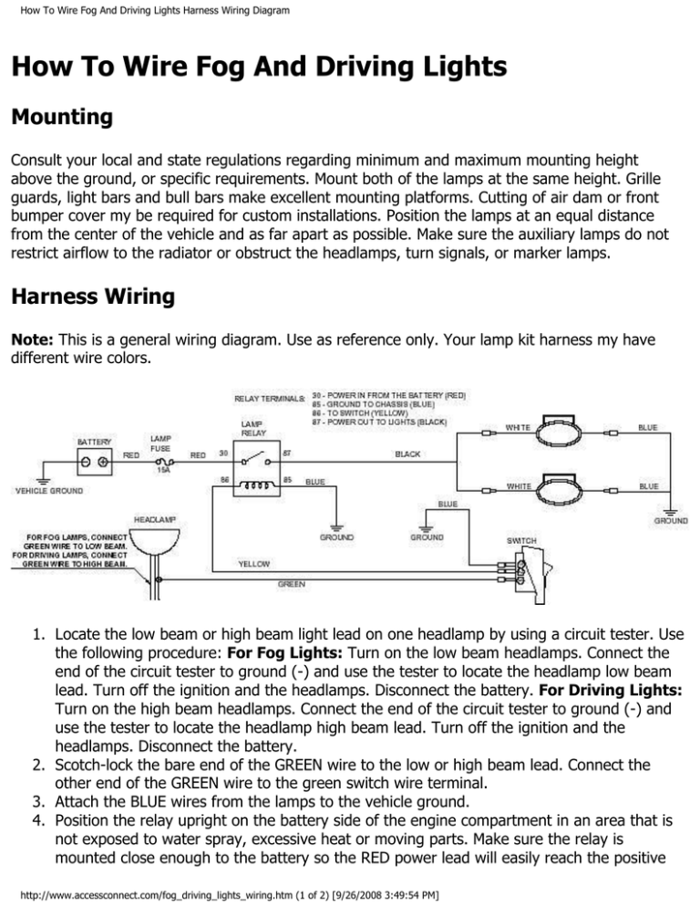 Driving Lights Harness Wiring Diagram