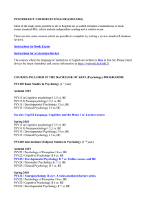 PSYCHOLOGY COURSES IN ENGLISH (2015
