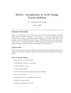 EE411: Introduction to VLSI Design Course Syllabus