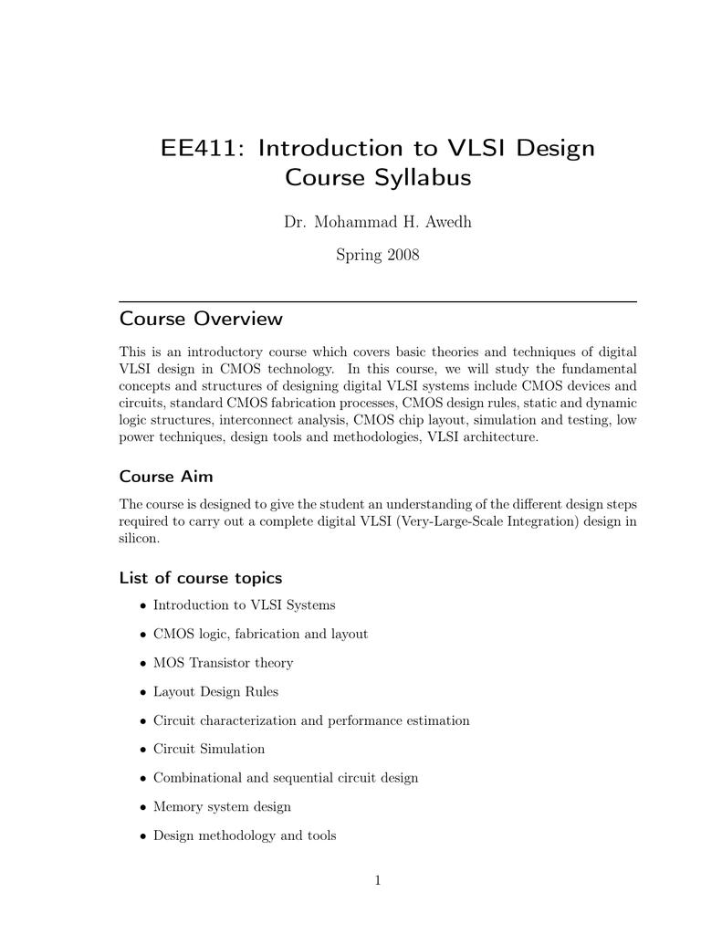 Ee411 Introduction To Vlsi Design Course Syllabus