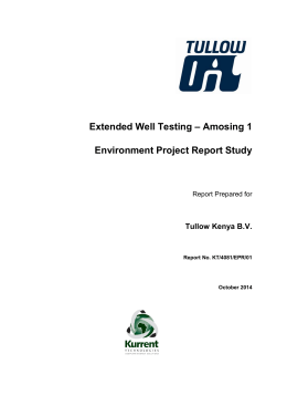 Extended Well Testing – Amosing 1 Environment Project