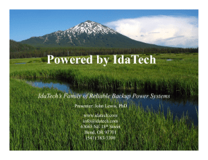 Powered by IdaTech - Fuel Cell Seminar
