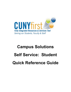 Self Service: Student Quick Reference Guide