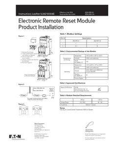 Electronic Remote Reset Module Product Installation