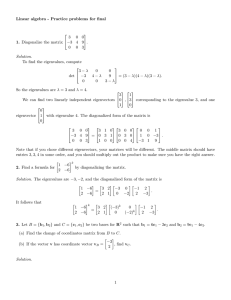Linear algebra - Practice problems for final 1. Diagonalize the matrix