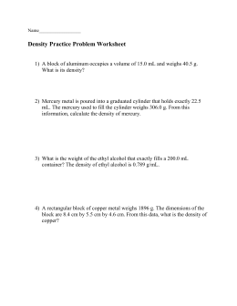 Density Calculations Worksheet I