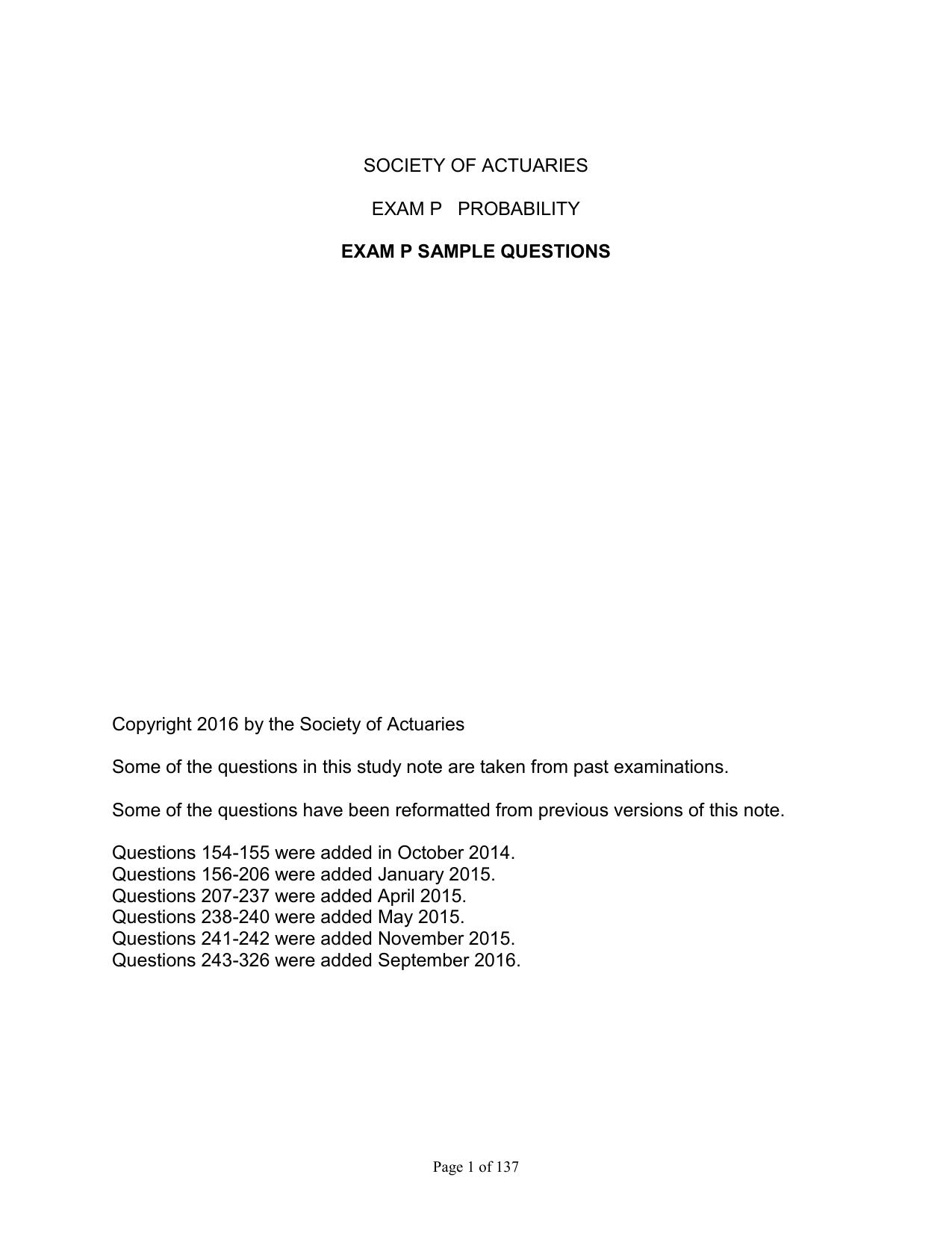 Guo's original problem for actuarial exam p - sample youtube.