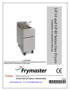 GF14 and GF40 SERIES GAS FRYERS CHAPTER 1