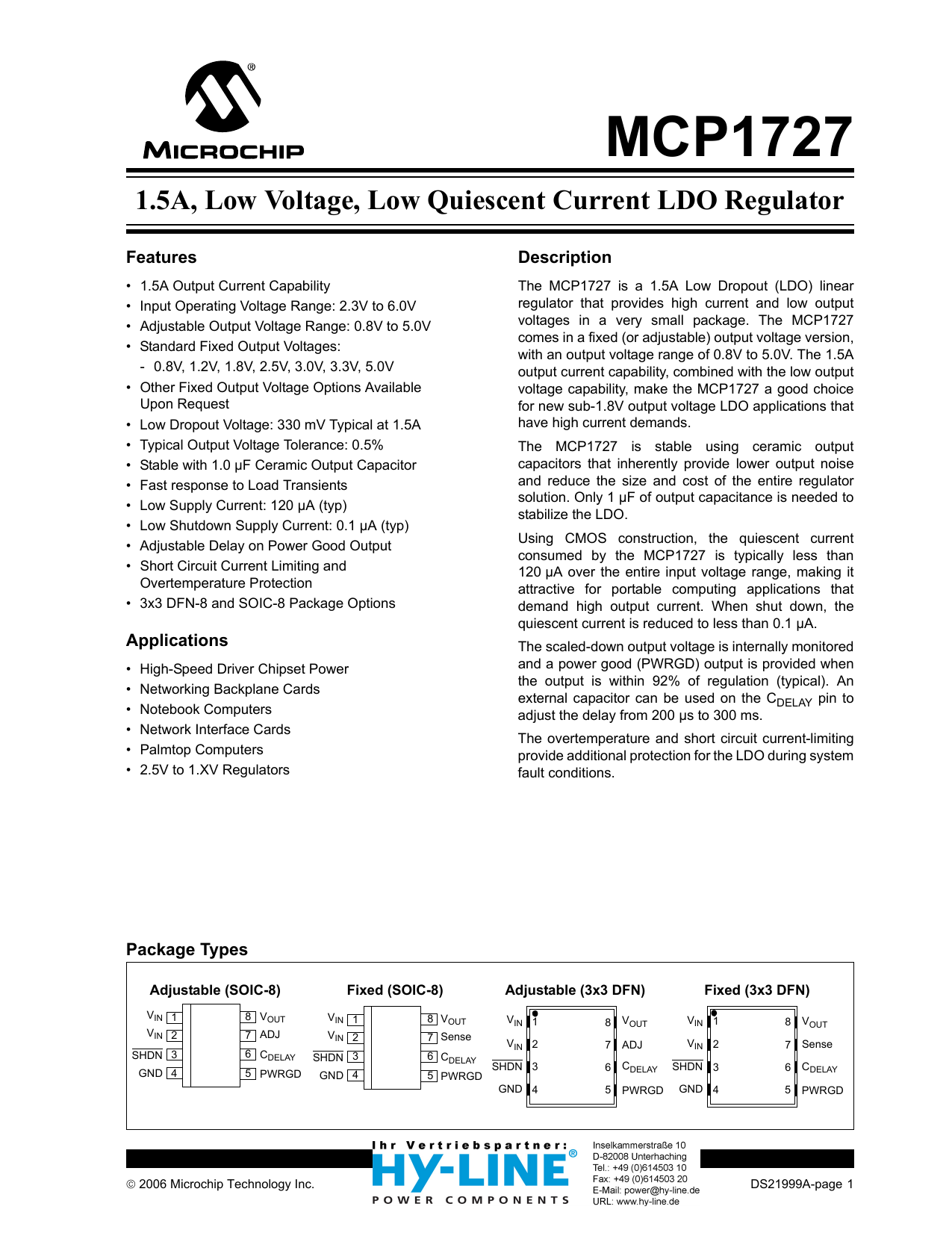 15a Low Voltage Quiescent Current Ldo Regulator Data Sheet
