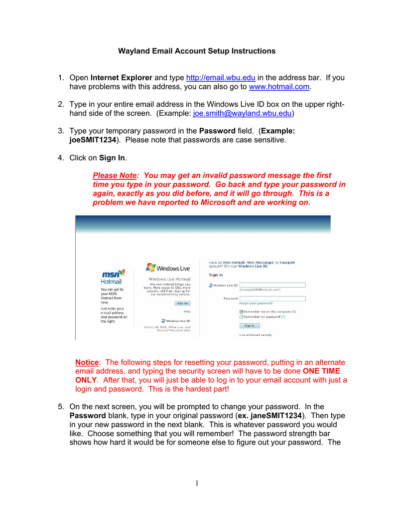 1 Wayland Email Account Setup Instructions 1 Open Internet