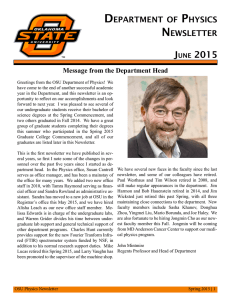 department of physics newsletter