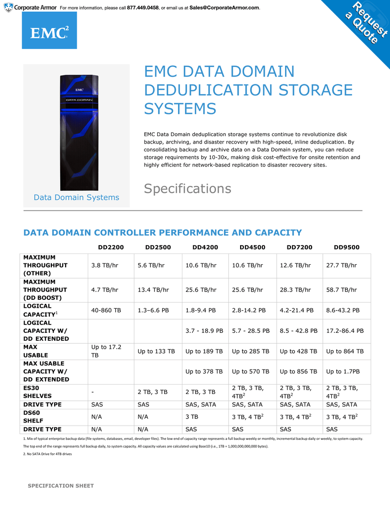 Emc Quote | Spec Sheet Emc Data Domain Systems