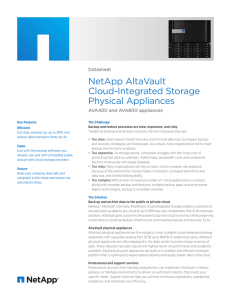 NetApp AltaVault Cloud-Integrated Storage Physical