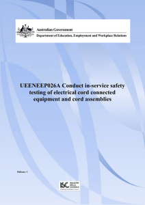 UEENEEP026A Conduct in-service safety testing of electrical cord