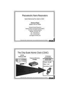 Piezoelectric Nano Resonators The Chip