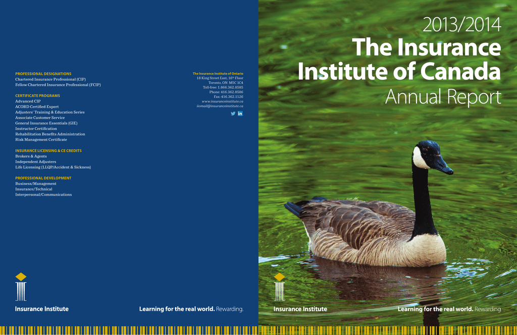 Annual Report Insurance Institute Of Canada